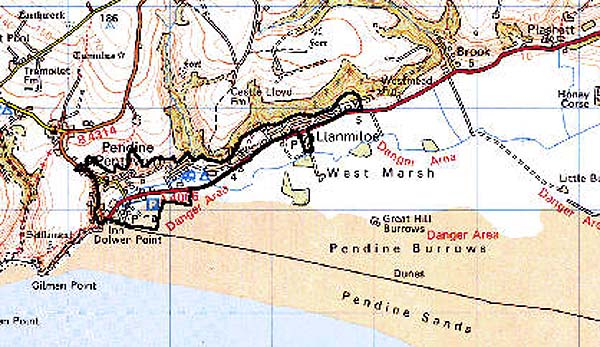 Pendine Sands Map Archaeology in Wales   Ymddiriedolaeth Archaeolegol Dyfed   Dyfed  Pendine Sands Map